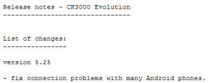 CK3000 Evolution Release Notes Caption